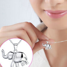 Silver Plated Elephant Pendants Fashion Jewelry Cubic Zirconia Necklace Women