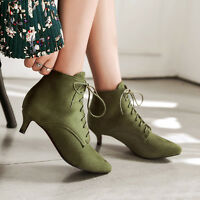 Women Lace up Faux Suede Mid Heel Ankle Boots Walking Shoes UK Size 1.5-11