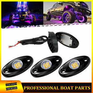 Purple 4 Pods LED Underbody Rock Wheel Lights For Jeep Offroad Truck Boat ATV