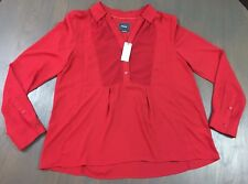 Anthropologie Maeve red top collared blouse chevron inlay pleated back 10 M NWT