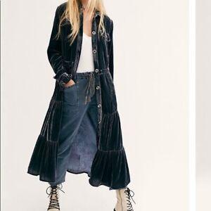 Free People Bella Donna Grey Velvet Duster Dress Or Coat size S UK 10 NEW