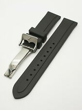 GENEVE  20mm  Black Waterproof Rubber Watch Strap Band for Tudor  (New)
