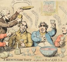 Gillray -The Burmingham Toast 1849 Original Antique Revolution Society 14th July