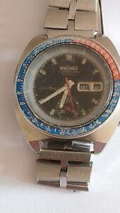 Seiko Chrono Automatic 6139-6030T. Pepsi. Water 70m Resist. Working. 1970's.