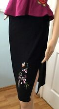 Pretty Embroidered Black Skirt Bird Pencil Stretch w/ Anthropologie Flair M
