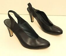 STACCATO Navy Leather Sling Back Elasicated Sides Shoes Size 7