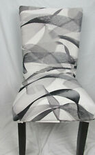 New Dining Chair Seat Covers Stretch Removable Protective Black White Slipcover