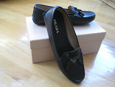 NIB PRADA MILANO SAFFIANO LEATHER LOGO SLIP-ON LOAFERS MOCCASINS SHOES 39.5/9.5