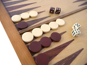 """Spare Parts - Backgammon Replacement Acrylic Counters - Ivory/Brown 21mm / 0.8"""""""