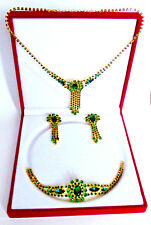 Luxury Vintage Czech Handmade Rhinestones Set Necklace Bracelet Earrings GiftBox