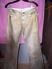 NWT $149 women's luxe sz 4 gold painted Cache stretch jeans SEXY/RARE 5% spandex