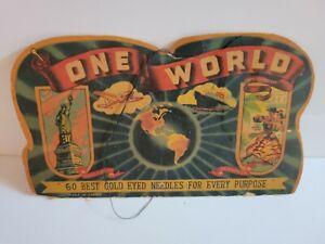 """Antique One World """"Best Gold-Eyed Needles"""" Cardboard Advertising Needle Holder"""