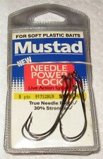 5 PACKS OF MUSTAD NEEDLE POWER LOCK 91752 BLN SOFT BAIT FISH HOOKS 4/0 N.I.B.