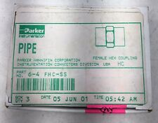 "NEW BOX OF 3 PARKER 6-4 FHC-SS CPI PIPE FEMALE HEX COUPLING 3/8"" x 1/4"" FNPT"