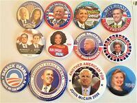 12  Presidential Campaign Buttons Biden Trump Obama Romney McCain etc SET 21BB