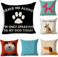 """Home Decor 18"""" Dog Pattern Cotton Linen Throw Pillow Case Sofa Cushion Cover"""