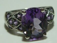DESIGNER 10K WHITE GOLD & AMETHYST WOMENS RING BAND SIZE 7.25
