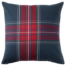 "IKEA JUNHILD CUSHION PILLOW COVER 20 X 20"" RED BLUE TARTAN SCOTLAND NEW FREESH"