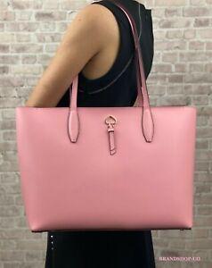 KATE SPADE NEW YORK ADEL LEATHER LARGE TOTE SHOULDER BAG $329 Pink