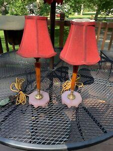 Pair Carved Bakelite/Catalin Butterscotch Swirl & Coralec Bedside Boudoir Lamps