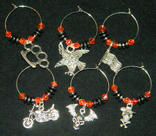 Wine Glass Charms : 6 pc Hematite Silver Motorcycle Drink Markers: Harley Colors