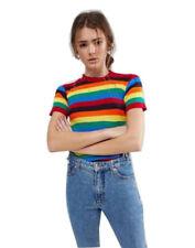 New Women Rainbow stripe Rib Knitted Jumper Top Ladies Short Sleeve Jumpers 8-14
