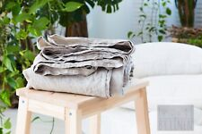 2 Linen Flat Sheet/Washed/36 inch x 84 inch, natural gray