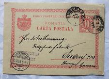 Postkarte, Ganzsache, BUCAREST (Jacobson)  nach OHRDRUF (Fa. Meinung), 1899