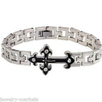 Punk Men Silver Stainless Steel Cross Bracelet Wristband Cuff Bangle Chain Charm
