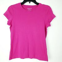 Womens Soft 100% Pima Cotton Hot Pink Crew Neck SS TShirt Top EUC Petite Small