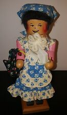 Vintage Rare Unique Maid Wooden Doll Mouth Opens with Broom and Purse