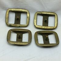 """4 Vintage Brass Horse Tact Buckles 1 1/4"""" Strap Opening"""