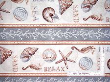 Beach Ocean Seahorse Starfish Stripe Cotton Fabric Wilmington Sand & Sea - Yard