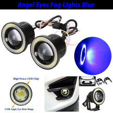 "2.5"" inch LED Fog Light Projector Driving Lamp COB Angel Eye Halo Ring Kit Blue"
