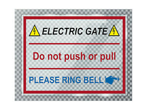 A016 ELECTRIC GATE PLEASE RING BELL Right ACRYLIC Plaque Sign Door House Office