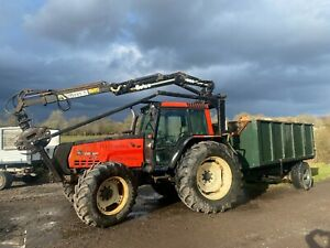 Valmet 8050 110HP 4WD Tractor Valtra 1998 - Botex 560 Roof Mounted Forest Crane