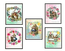 "John Tenniel's Alice in Wonderland Art Print Set of 5 Poster Wall Decor, 8 x 10"""