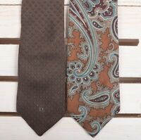 Lot of 2 Christian Dior Mens Silk Neckties Ties Vintage Brown Paisley Blue