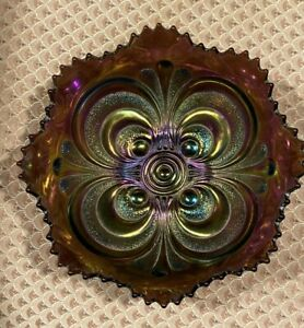 Vintage Carnival Glass -  Imperial  Peacock Tail bowl