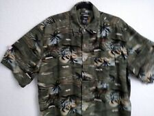 Hawaiian shirt 2XL UTOPIA  silk dark green black floral