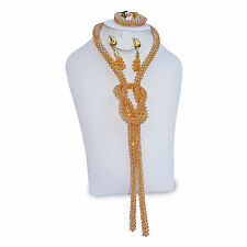 Champagne Gold Handmade African Beads Jewellery complete Set Necklace Earring Br