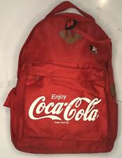 Vintage Coca Cola Backpack With Mickey Mouse Pin 1980s Red