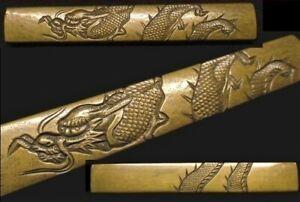 great Edo period Japan antique brass Mito school Dragon Kozuka Box sword katana