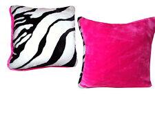 Plüsch Kissenhülle Dekokissen Zebra Fell  weiß schwarz Rückseite Pink  35 x 35