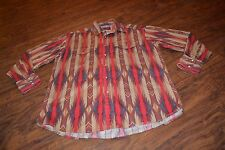A14- Vintage Rustler by Wrangler Cowboy Western Snap Down Shirt Size Large