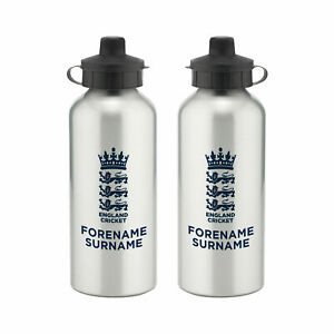 PERSONALISED England Cricket Gifts - Bold Crest Water Bottle - Official