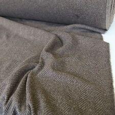 braun-grau Designer-Wollstoff Fischgrat Tweed Wolle Stoff Wolltuch Meterware