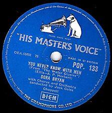 VERY RARE Dora Bryan 78 You Never Know with men (Water Gipsies) HMV pop133 E +/M -
