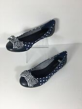 Soda Basic Round Toe Ballet Slip On Flats Blue & White Polka Dots Size 6&1/2 M