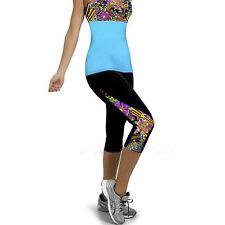 Womens YOGA Workout Gym Print Cropped Pants Leggings Fitness 3/4 Capri Trousers